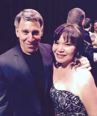 Stephen Schwartz and singer Fay Ann Lee after a concert