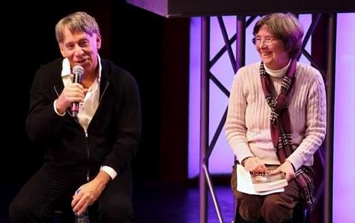 Stephen Schwartz jokes at talkback; Carol de Giere moderator
